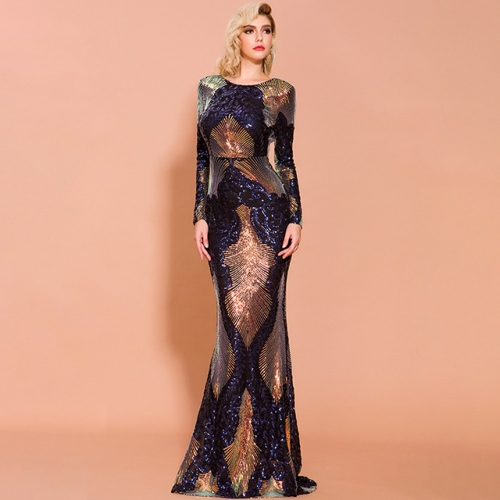 Sequins Long Sleeve Open Back Navy Blue Elegant Mermaid Evening Dresses