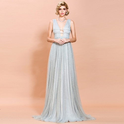 Sexy Deep V-Neck Hollow Out Mesh Sequins Sky Blue Prom Dresses