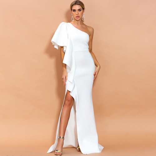 Backless Irregular Lotus Shoulder White Long Prom Dresses