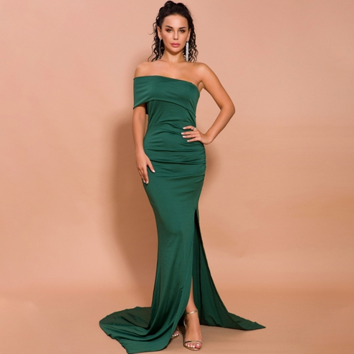 Elegant Single Shoulder Split Green Evening Dresses
