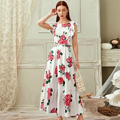 Bohemia Floral White Pleated Long Dress