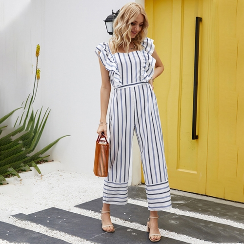 High Waist Lotus Edge  Backless Striped Jumpsuit