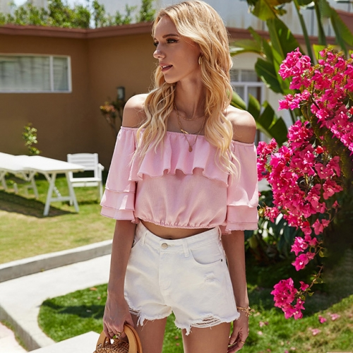 Slash Neck Short Sleeve Lotus Edge Pink Tops