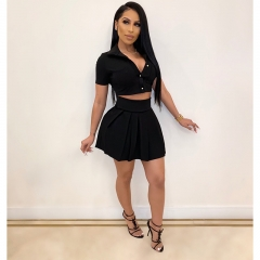 Summer Candy Style Two Pieces Crop Tops button With Mini Skirt Sets For Women's Outwear Outfits Clubwear